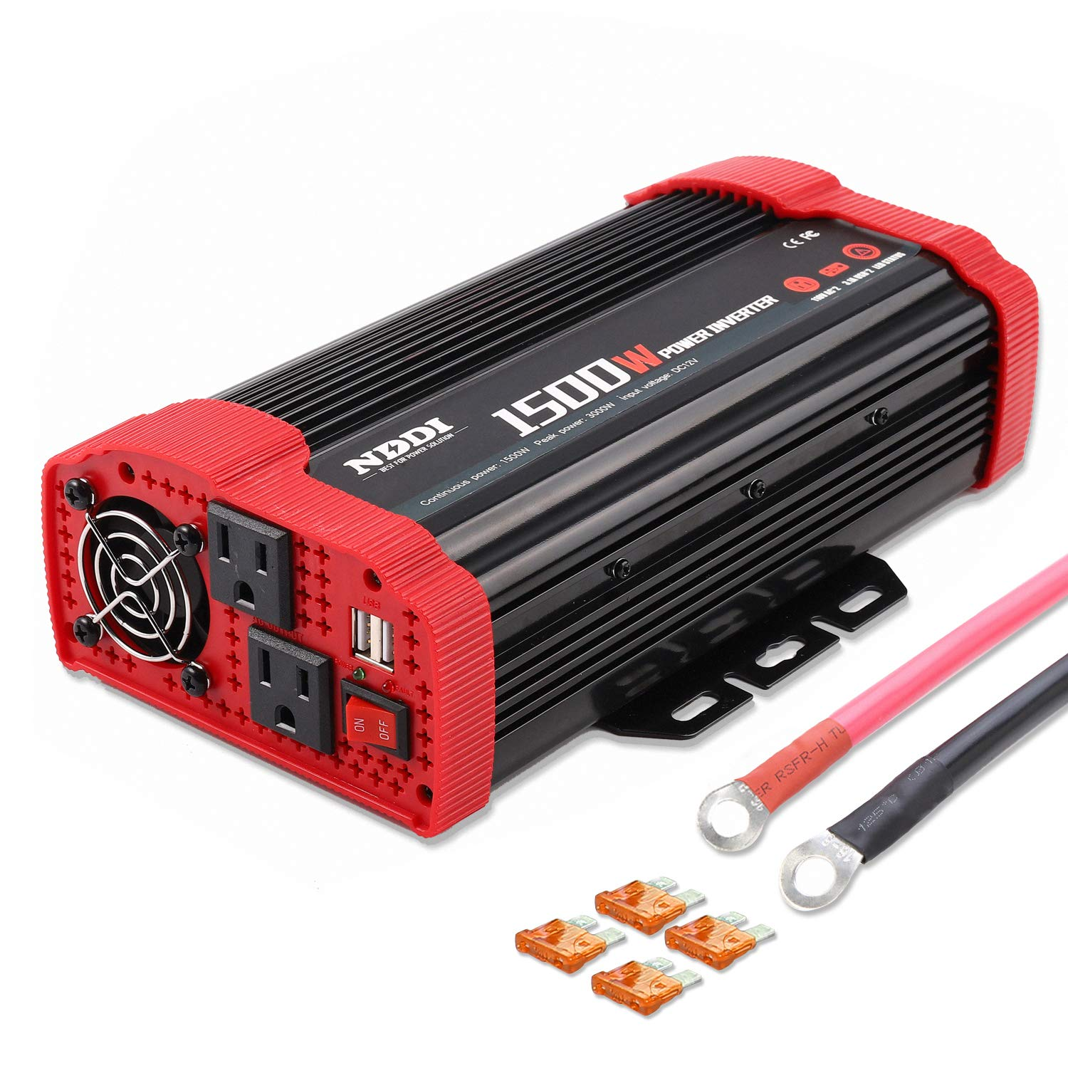 1500W Car Power Inverter 12V DC to 110V AC Car Converter Charger Adapter with Dual 3.1A USB Port and AC Outlets Quick Charging