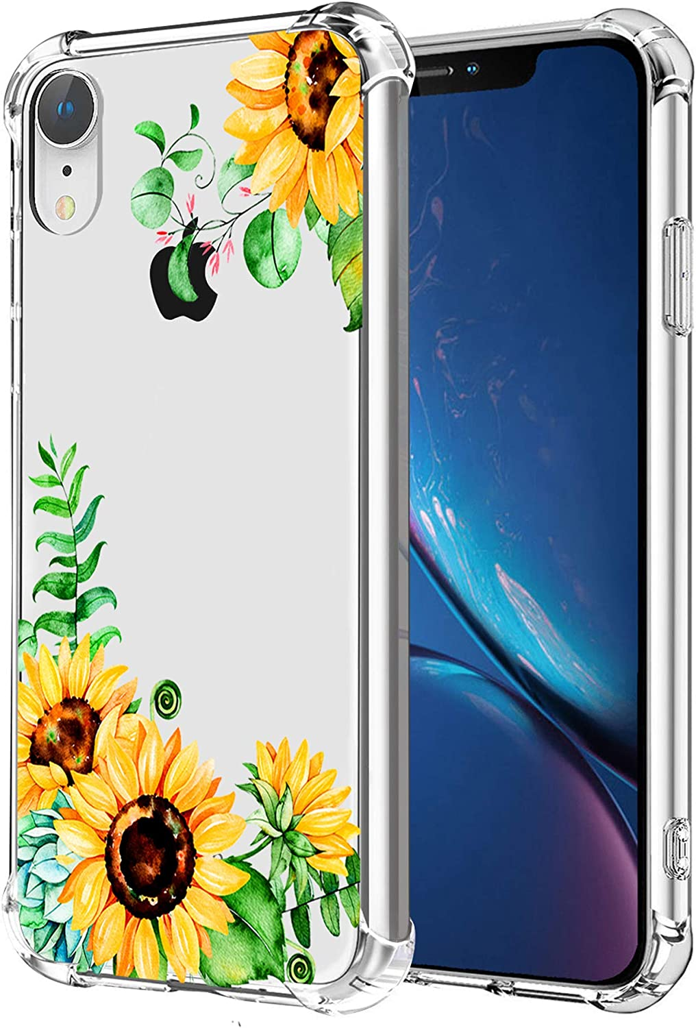 Sunflower Clear Case Fit iPhone XR Release 2018, Yellow Floral Girls Women Back Cover, Transparent Flexible TPU Bumper Shockproof Protective Case