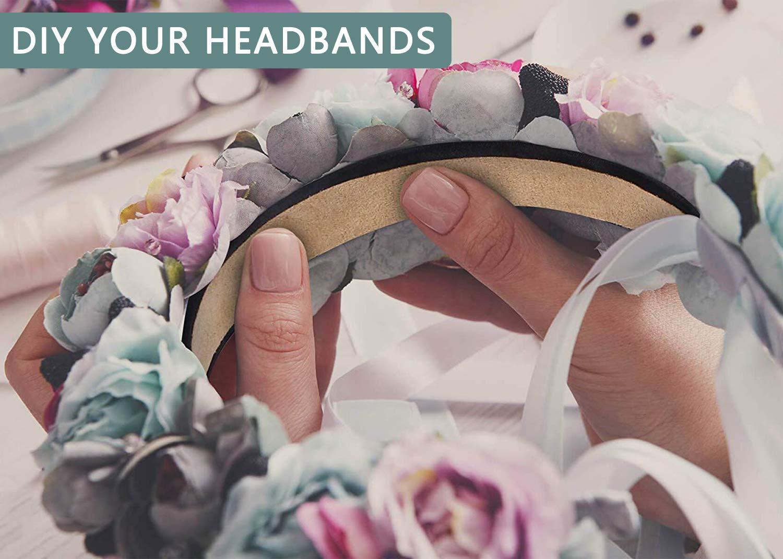 Fascia con Nastro Cerchietti per Capelli Bambina Hard Headband Larghi 1.2 pollici antiscivolo per le Donne e le Ragazze Fasce per Capelli in Raso 12 pezzi Nero