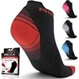 Compression Running Socks for Men & Women - Best Low Cut No Show Athletic Socks for Stamina Circulation & Recovery - Ultra Durable Ankle Socks for Runners, Plantar Fasciitis, Endurance & Cycling, womens, (4 PAIRS) RED BLACK + RED WHITE, S/M (US Women 5.5-8.5 / US Men 5-9)