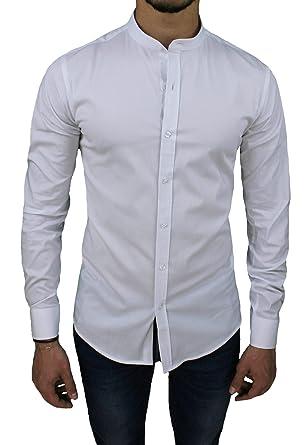 premium selection c6457 d9fe6 AK collezioni Camicia Uomo Cotone Slim Fit Casual Elegante con Colletto  Coreana