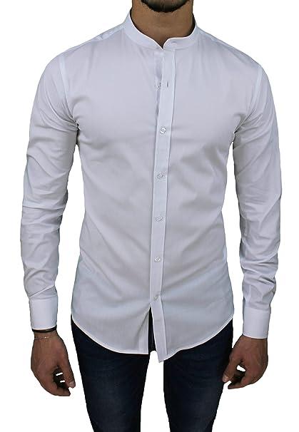 foto ufficiali bdf1a 7d9fe Camicia Uomo Cotone Slim Fit Bianco Casual Elegante con Colletto Coreana