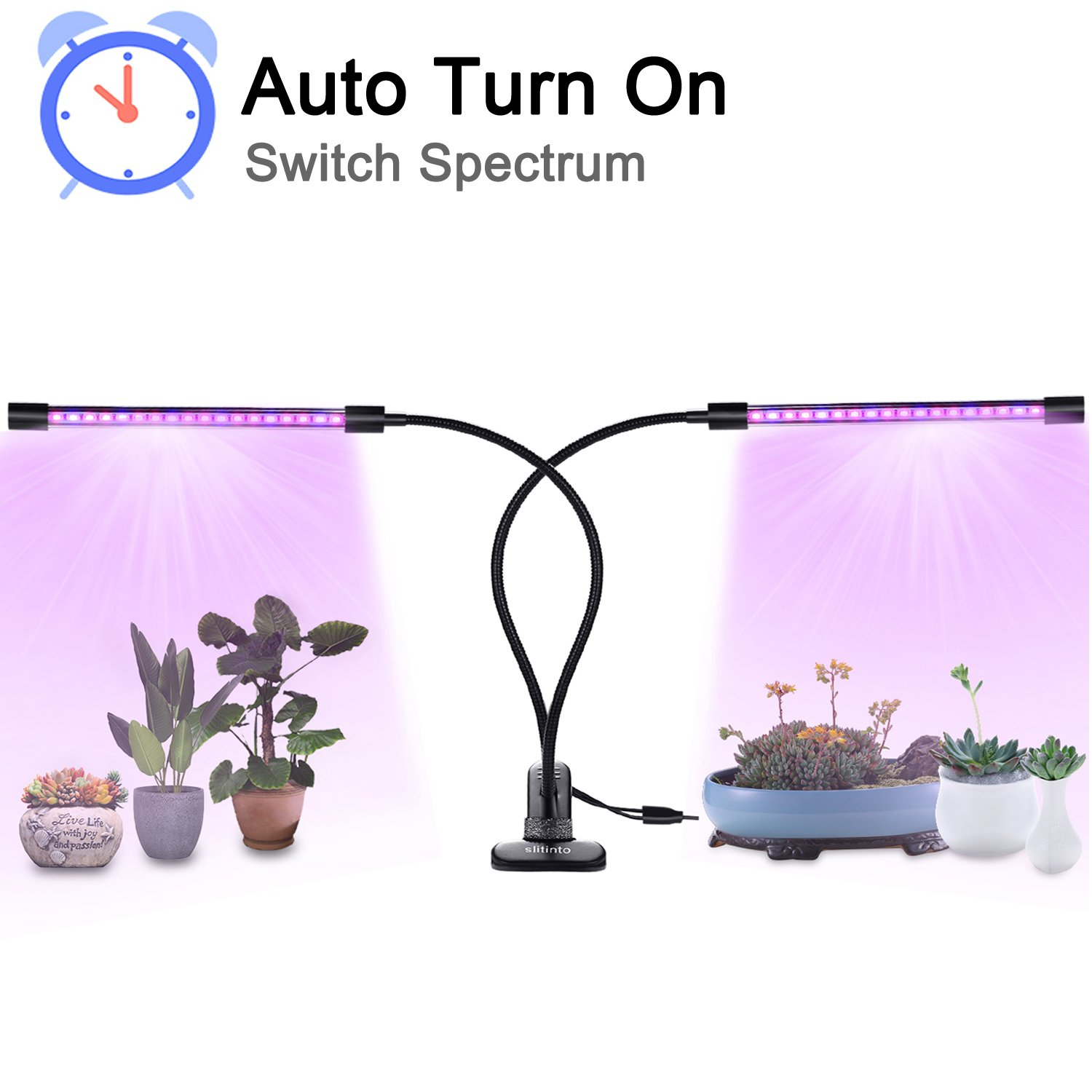 18W Plant Grow Light with Auto Turn On Function, slitinto Dual Head 36 LED 5 Dimmable Levels Grow Lamp Bulbs, 3/9/12H Timer, Spectrum Switching, Adjustable Gooseneck for Indoor Plants [2018 Upgraded]