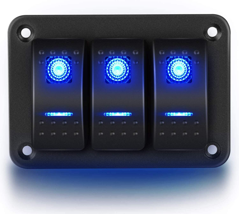 Gebildet 3 Gang Tablero de Palanca de Panel de Aluminio Luces LED, Soporte de Interruptor Basculante Precableado de Encendido/Apagado de 5 Pines para Automóvil, Barco Marino