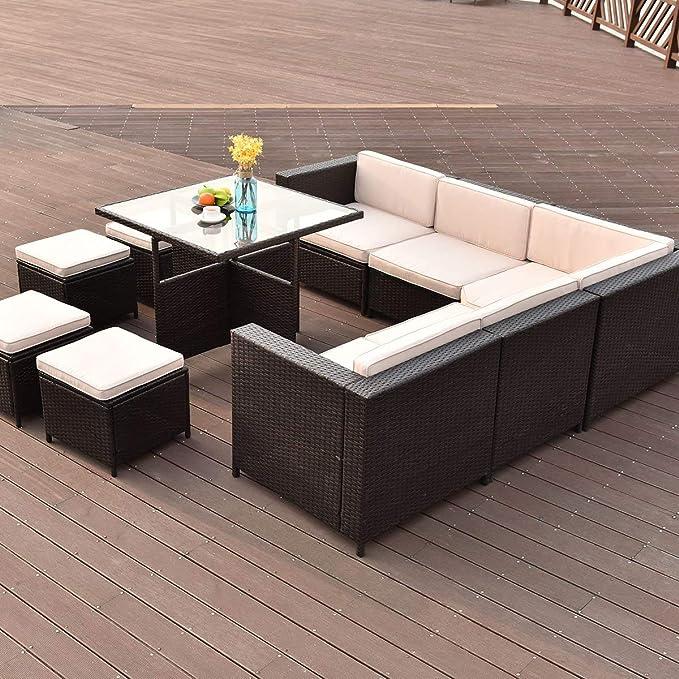 Amazon.com: Tangkula Juego de 10 muebles de mimbre, para ...