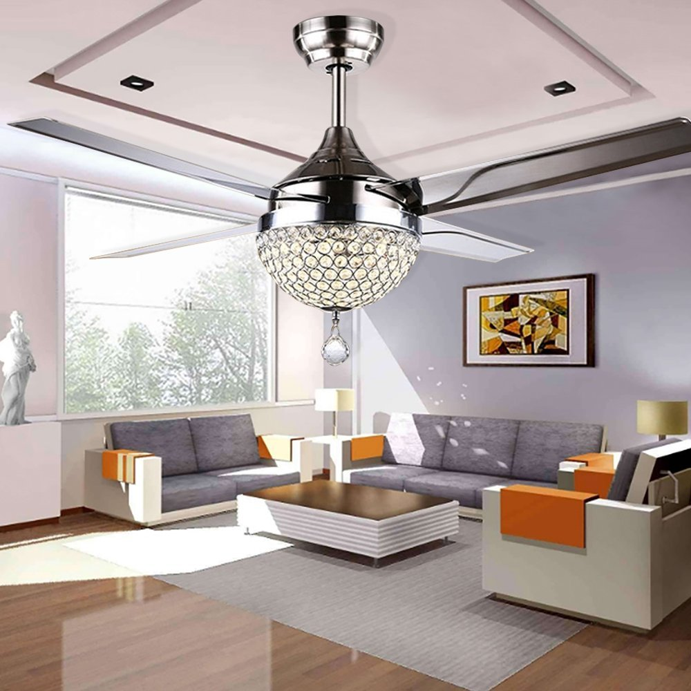 RainierLight Modern Crystal Ceiling Fan Lamp LED 3 Changing Light(Warm/White / Yellow ) 4 Stainless Steel Blades for Living Room/Bedroom/Indoor Remote Control 44-Inch