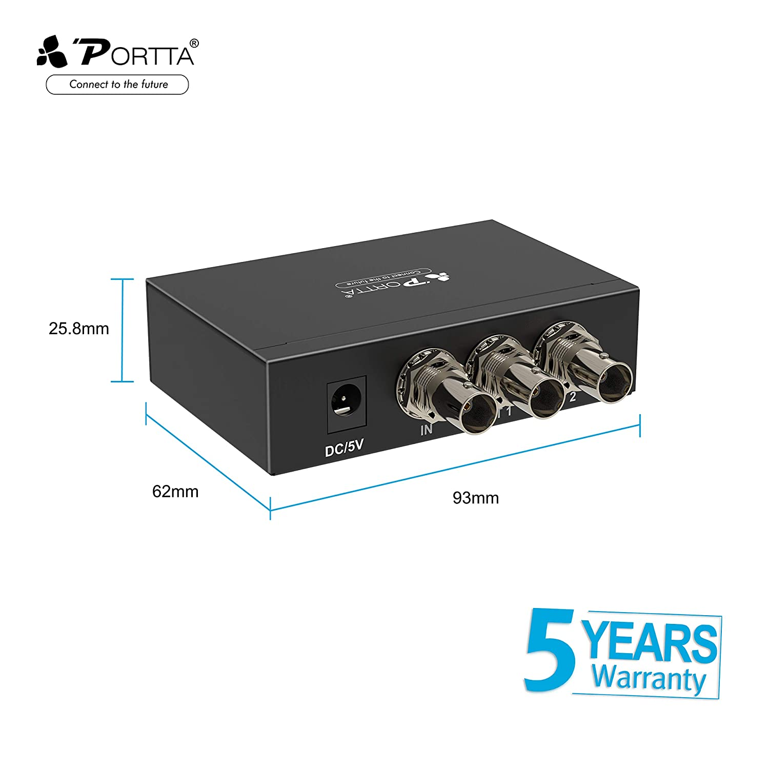 Portta SDI Splitter 4 Port 1x4 with 3G-SDI HD-SDI Support Cable 100m and Full HD