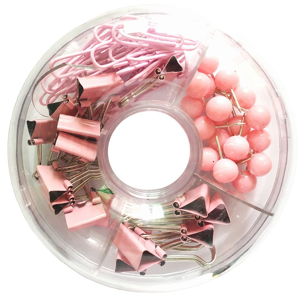 65 PCS Pink Push Pins/Paper Clips/Binder Clamps/Binder Clips, Pink Office Supplies Bulletin Boards Thumb Tacks Set Desk Accessories for School Supplies by Fantastic Office Supplier (Image #4)