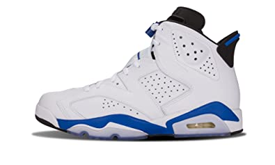 Jordan Mens Air Jordan 6 Retro White/Sport Blue Leather basketball-shoes Size 9.5