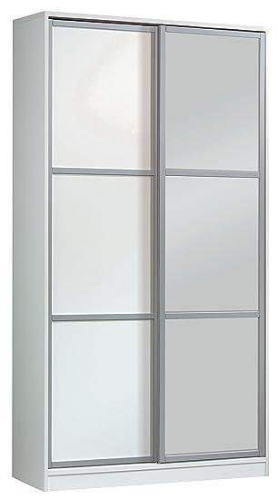 Amazonde Kleiderschrank Mit Spiegel Weiß Glänzend 2 Schiebetüren
