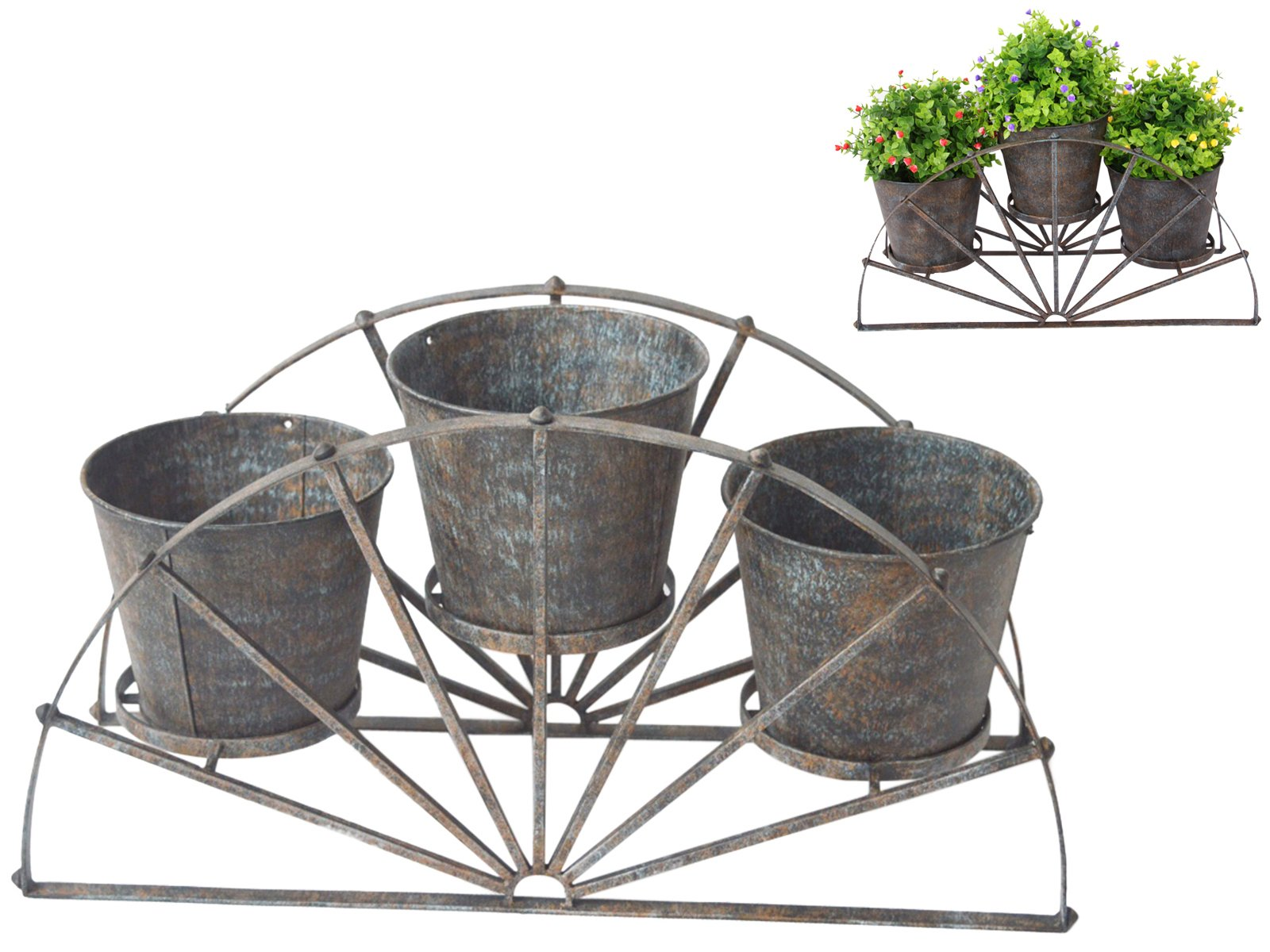 UNBRAND 55cm Triple Pot Holder in Metal Vintage Wagon Wheel Decor by unbrand (Image #1)