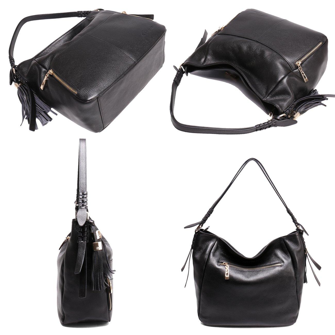 Geya Women's Fashion Genuine Leather Handbag Shoulder Handbag with Imported Soft Hot Leather (Black) by Geya (Image #7)