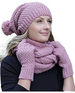 839da396f03df4 Hilltop Winter Kombi Set aus Winter Schal, passender Strickmütze/Beanie und  wahlweise Handschuhe oder