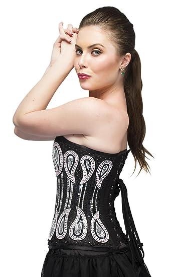 aae1d6134dd Black Satin Silver Sequins Gothic Burlesque Overbust Top Tutu Skirt Corset  Dress