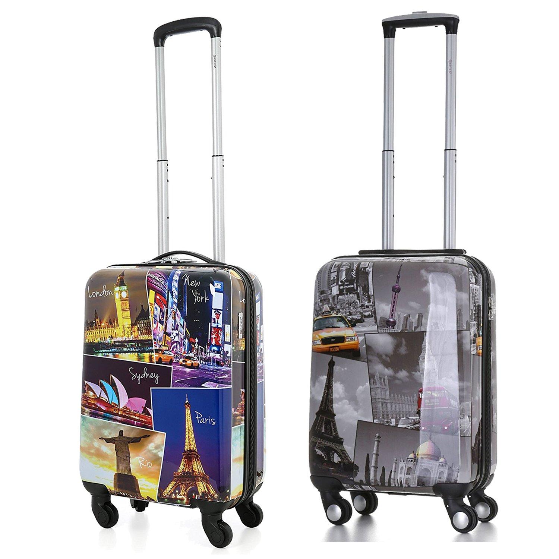 5 Cities Hartschale Polycarbonat 4 Rollen Handgepäck Trolley Koffer Bordgepäck Kabinentrolley Reisekoffer Gepäck , Genehmigt für Ryanair , easyJet , Lufthansa und viele mehr (Städte + Nacht)