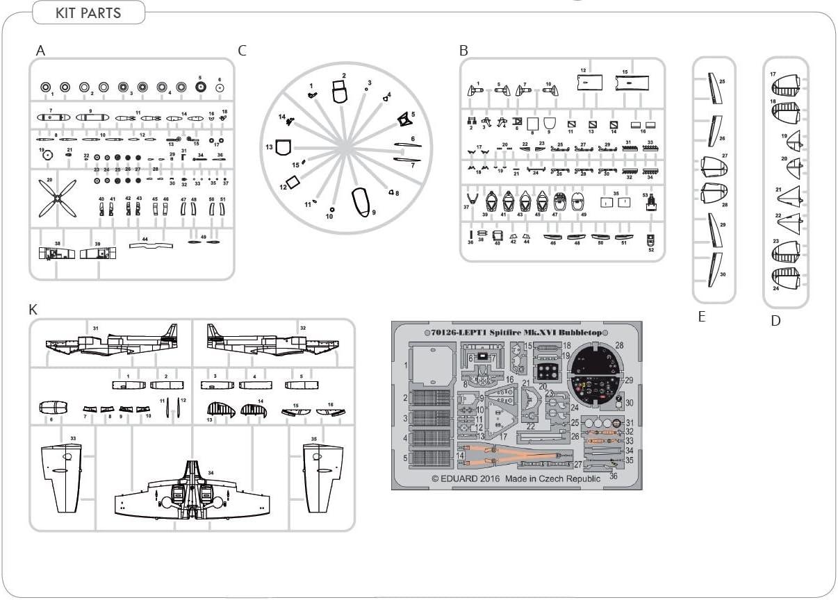 Unbekannt Eduard Plastic Kits 70126/Model Kit Spitfire Mk XVI Bubbletop Professional Pack