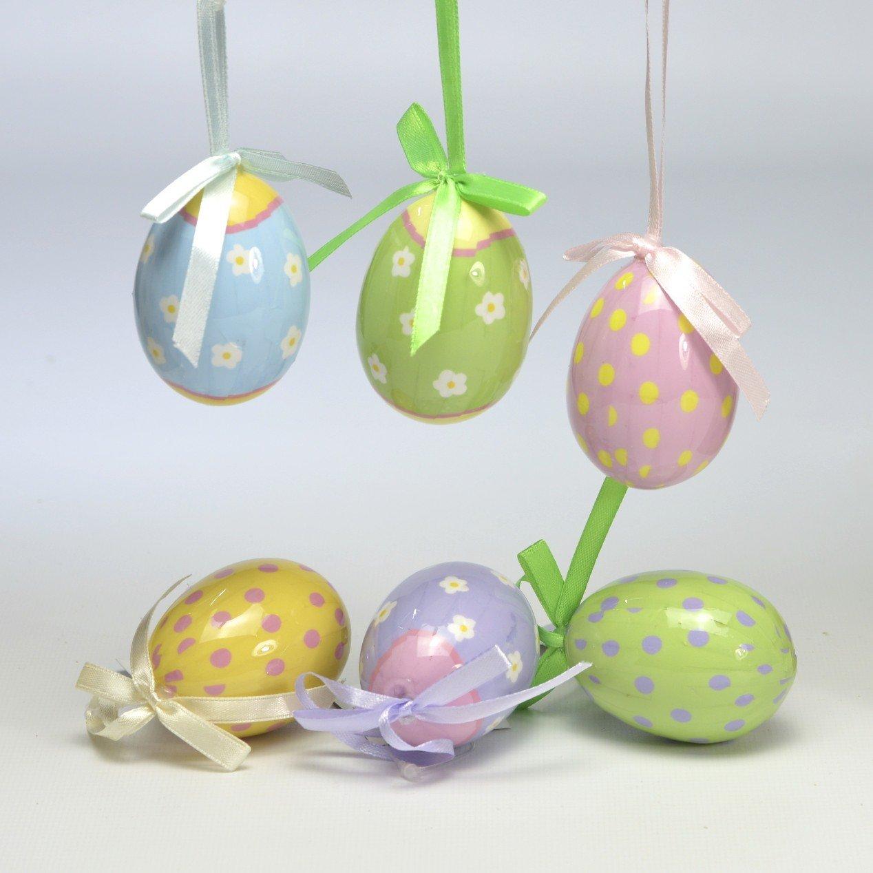 /Set di 6/Decorazioni da Appendere Uova di Pasqua Gisela Graham/ Motivo Floreale e Pois 6/cm
