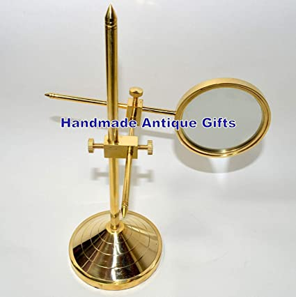 """4/"""" Vintage Antique Style Solid Brass Heavy Glass Magnifying Desk Lens Magnifier"""
