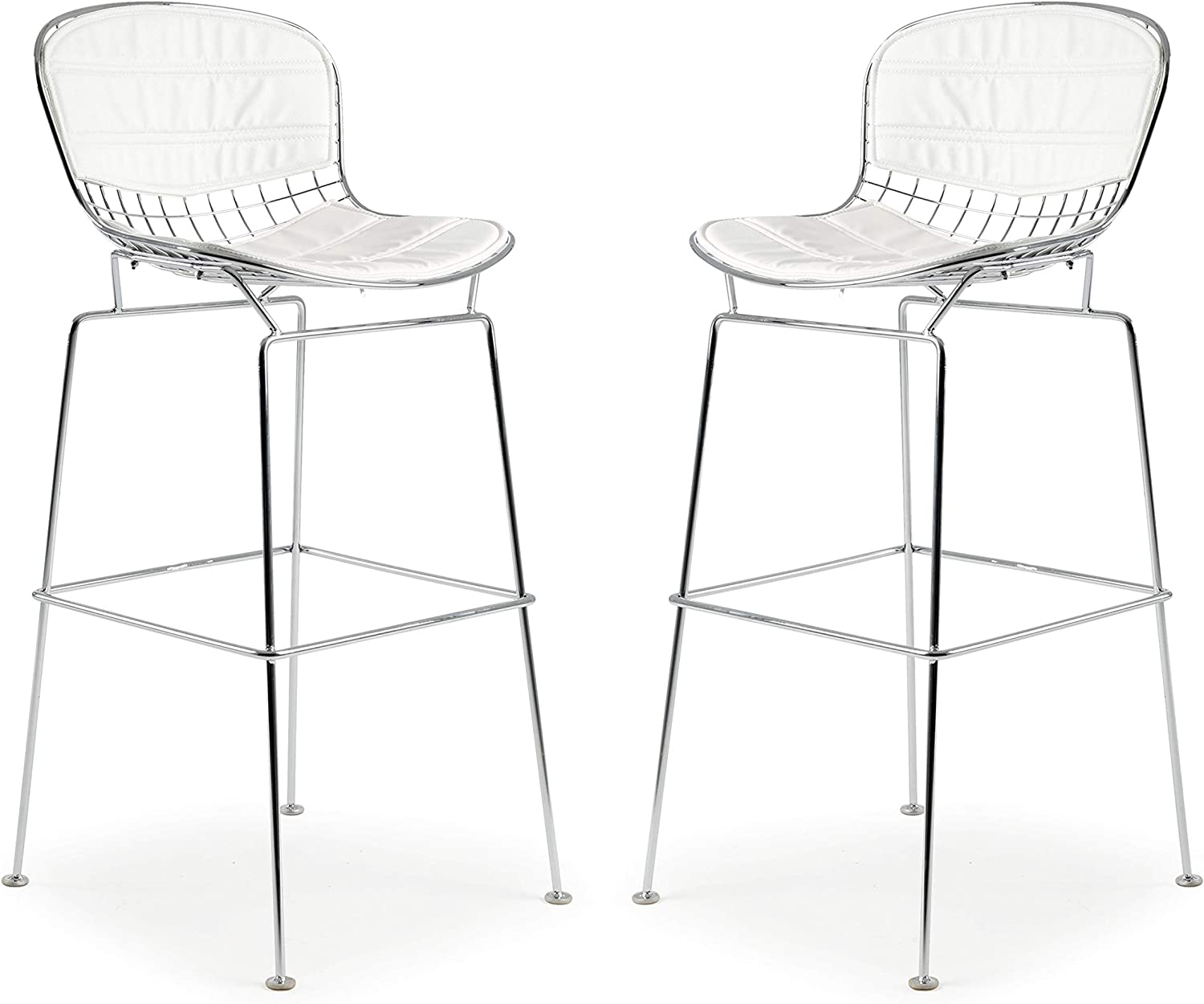 Poly and Bark Bertoia Style Wire Bar Stool in White (Set of 6)