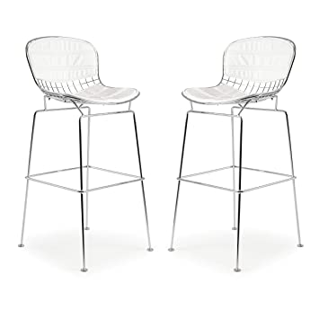 Amazing Poly And Bark Bertoia Style Wire Bar Stool In White Set Of 2 Theyellowbook Wood Chair Design Ideas Theyellowbookinfo