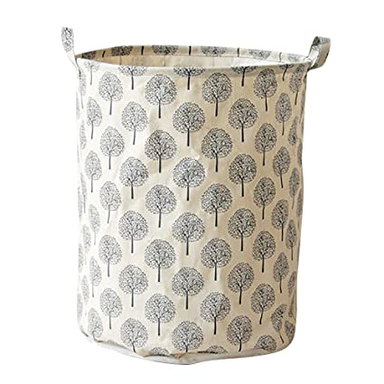 Cesta de lavandería redonda, Algodón lino impermeable PE revestimiento cesta almacenamiento Miscelánea caja de almacenamiento
