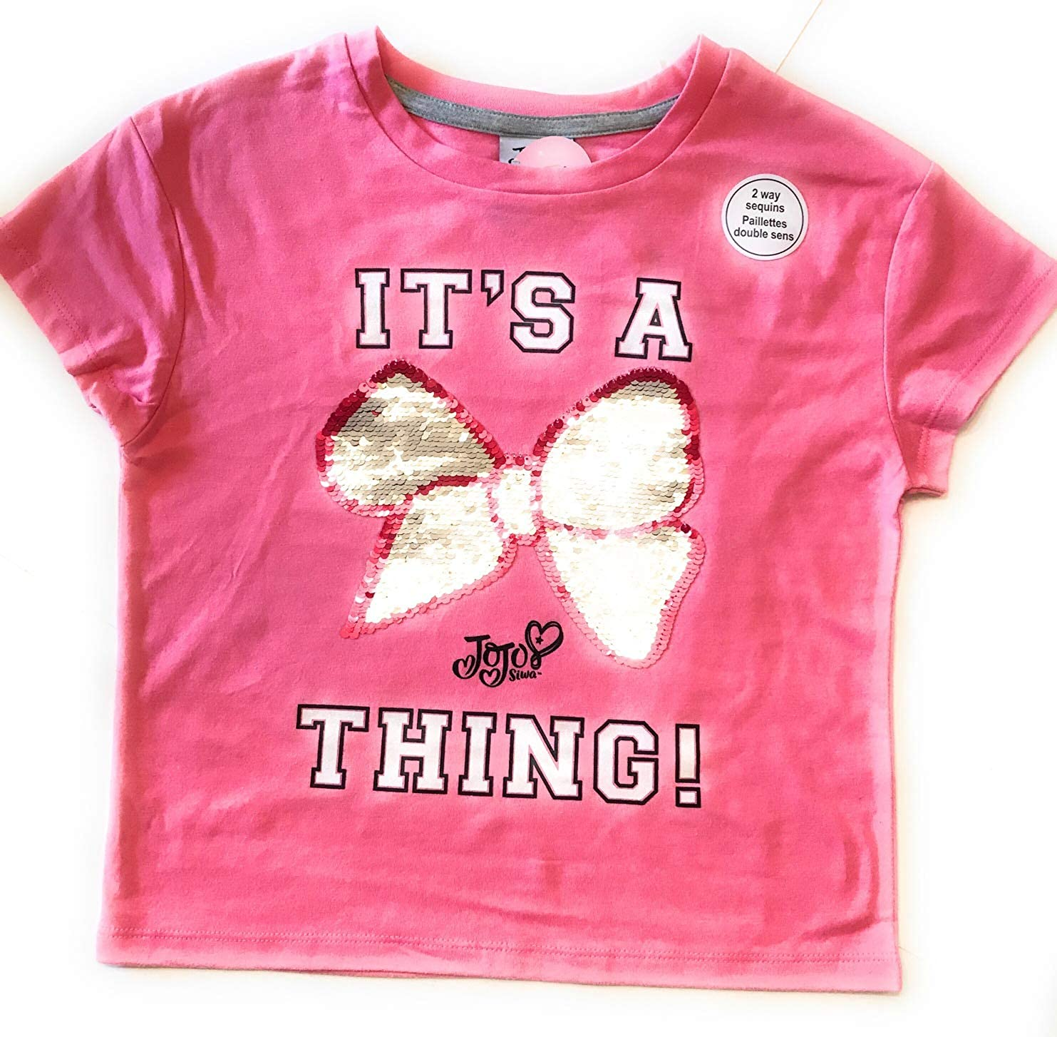 Flippy Sequin Pink Bow Shirt for Girls Size M (7-8)
