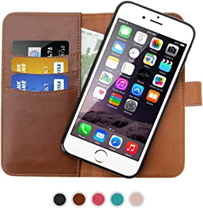 SHANSHUI Wallet Case Compatible with iPhone 6/6s/7/8 and iPhone SE(2020), Premium PU Leather RFID Blocking Magnetic Removable Folio Flip Cover - Brown 4.7''