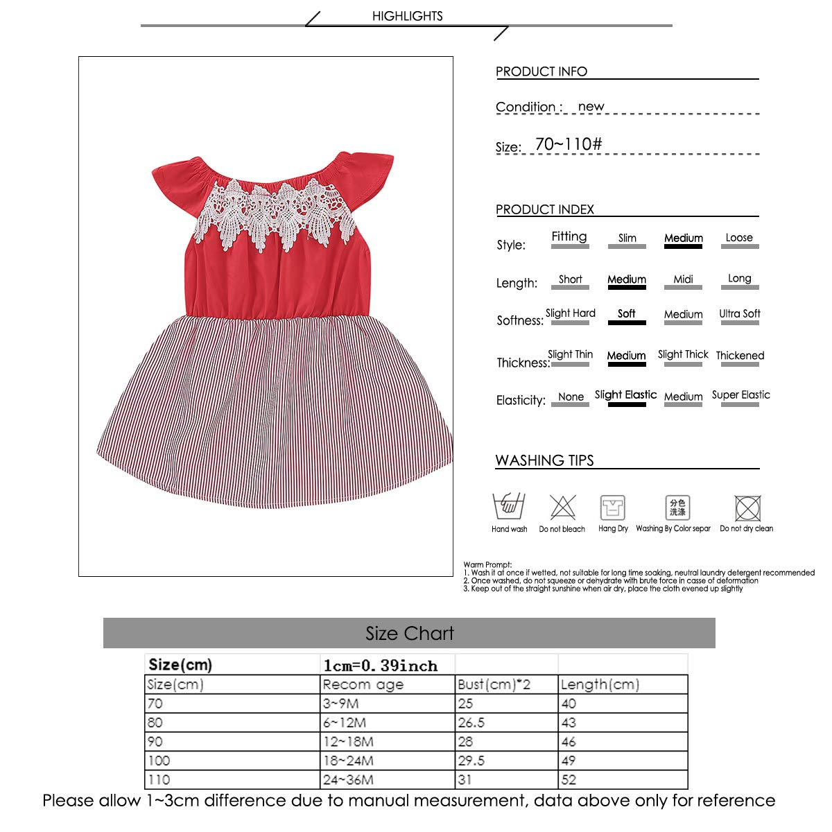 Baby Toddler Girl Vertical Striped Sleeveless Dress Casual Ruffled Lace Swing Dresses Red
