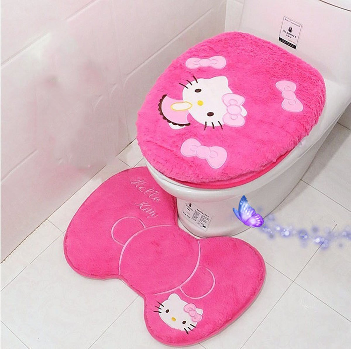 Ikeelife Cute Hello Kitty Bathroom Pedestal Mat Cotton Non Slip Bath Mat Toilet Contour Rug, Closestool Lid Cover,Seat Cushion,Tissue Box 4PCS Set Pink Se4 Janeyer