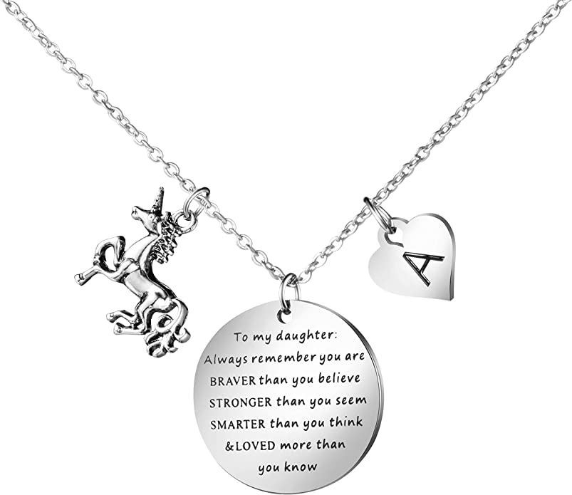 Giftjews Unicorn Gifts for Girls Necklace Z Jewelry Gifts for Little Girls Teen Girl Kids Dainty Adjustable Alloy Unicorn Charm Pendant Initial Necklace Alphabet Letter Unicorn Necklace A