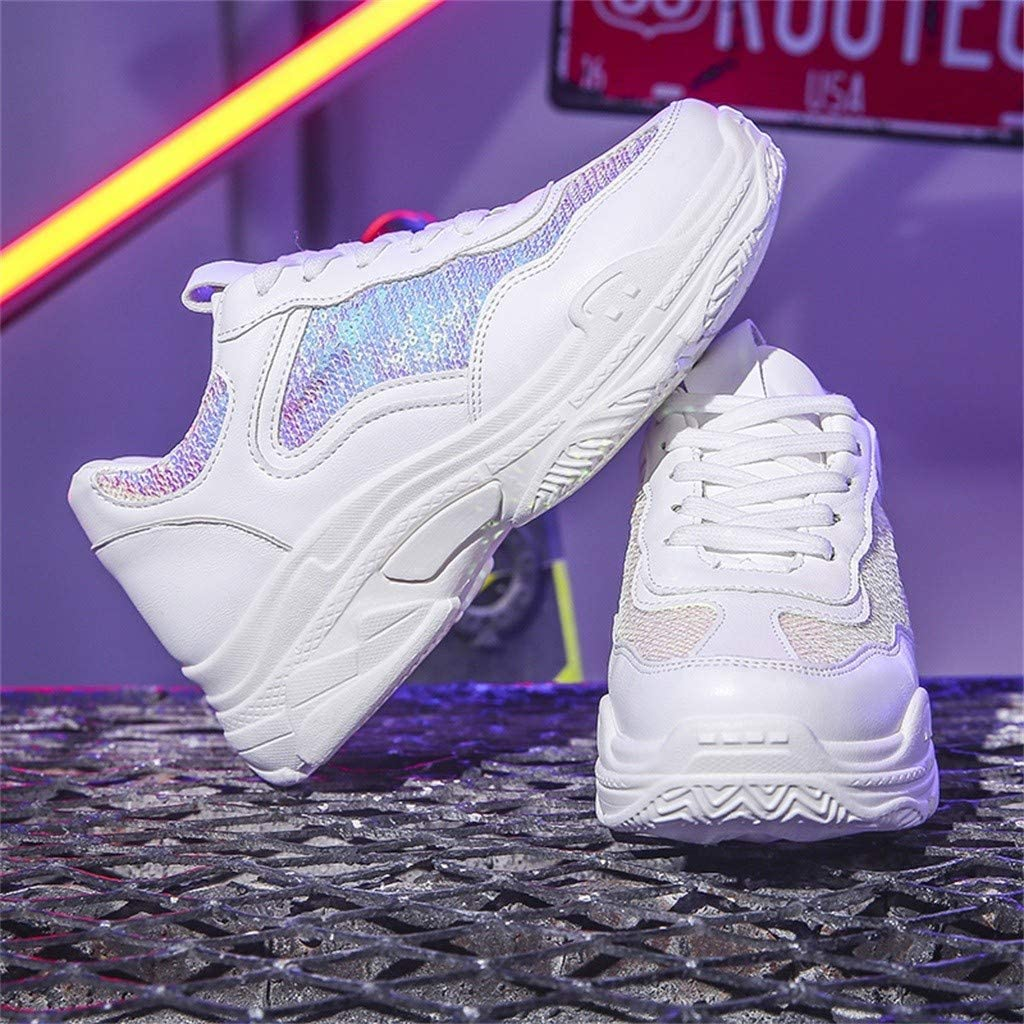 Chunky Sneakers for Women の Classic White Running Shoes Casual Platform Sport Shoes Air-Permeable Tech 2019 Fall-Winter