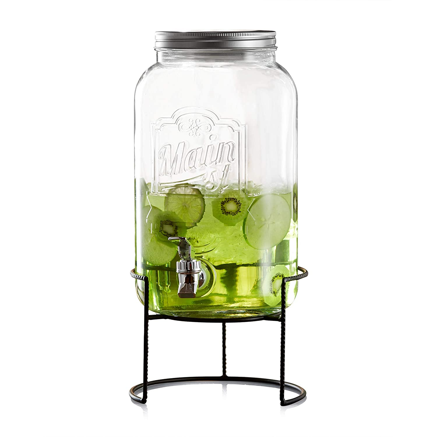 "Style Setter Main Street 210260-GBR 2 Gallon Glass Beverage Drink Dispenser with Metal Stand & Lid 8.5x13.5"" Clear"