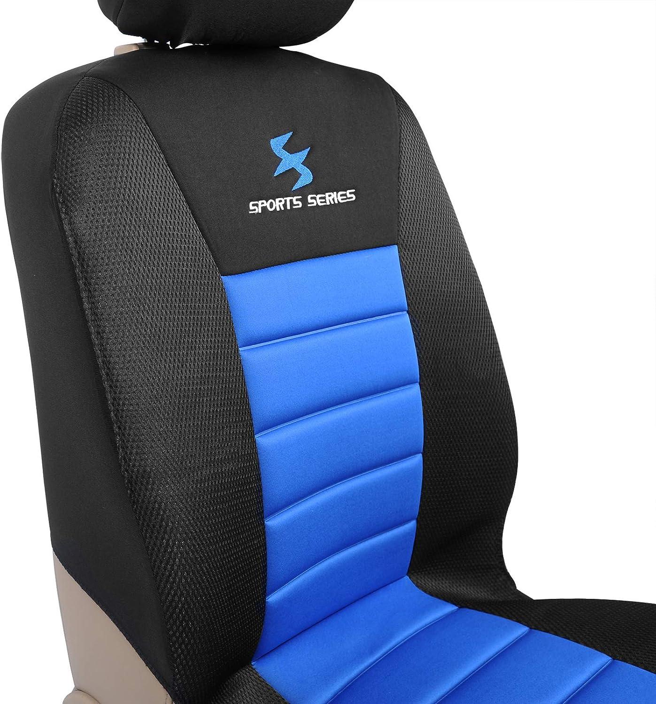 WOLTU AS7256-2 Set Coprisedili Anteriori Auto 2 Posti Seat Cover Protezioni Universali per Macchina Tessuto Poliestere Nero//Blu