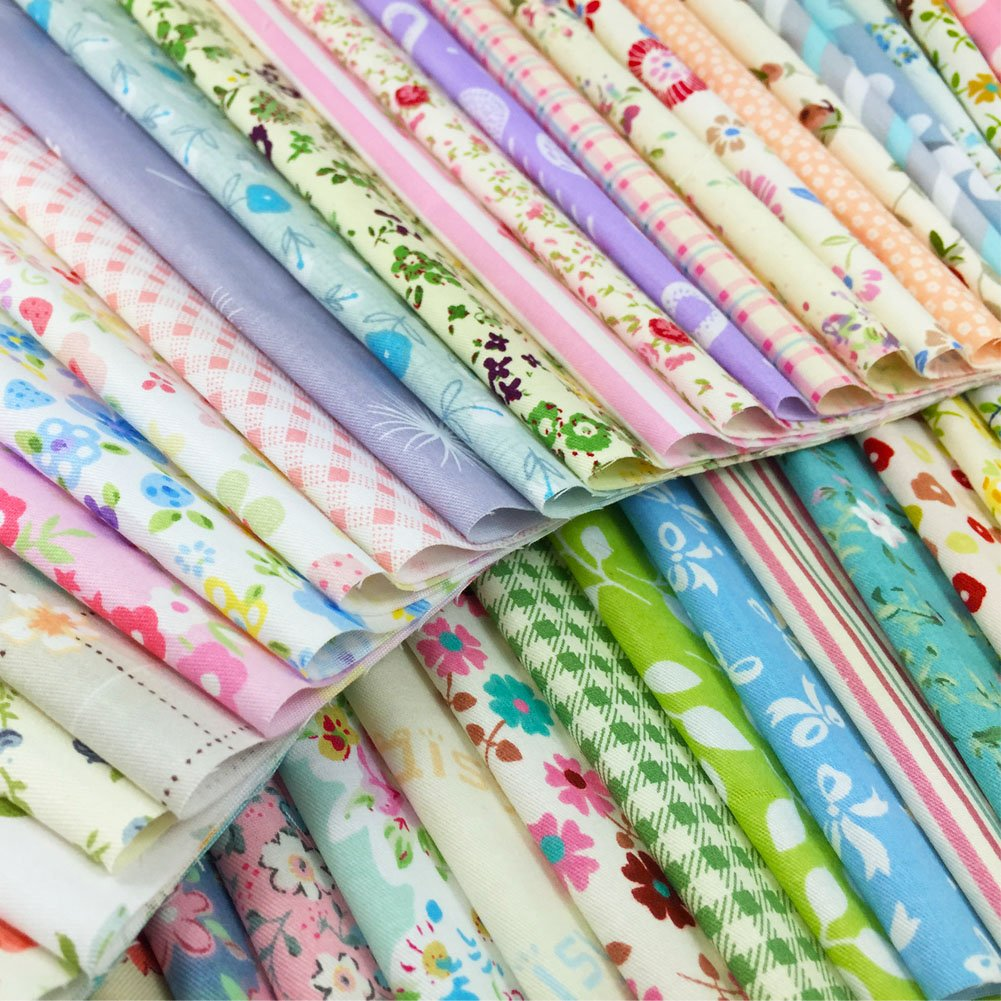 flic-flac Quilting Fabric Squares 100% Cotton Precut Quilt Sewing Floral Fabrics for Craft DIY (10 x 10 inches, 60pcs) WJCR-FB-XHB2525-60P