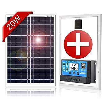DOKIO 20W Kit de paneles solares MONOcristalino CON REGULADOR ...