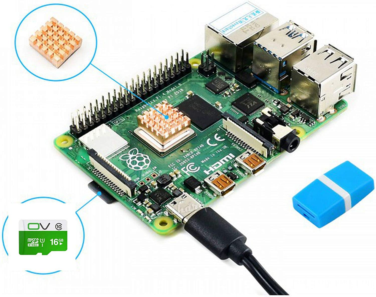 pzsmocn Raspberry Pi 4 Model B Kit Includes PI4B-4GB 16GB Micro SD Card Heat Sink and Power Supply.The Very Essential Parts to Get Started Guaranteed Compatibility and Stability.