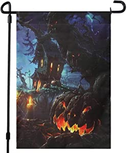 COCOHOME Happy Halloween Garden Flag with Flag Stand, 12 x 16 Inch Double-Sided Spooky Ghost Pumpkin Castle Outdoor Flag Banner for Garden Yard Decorations