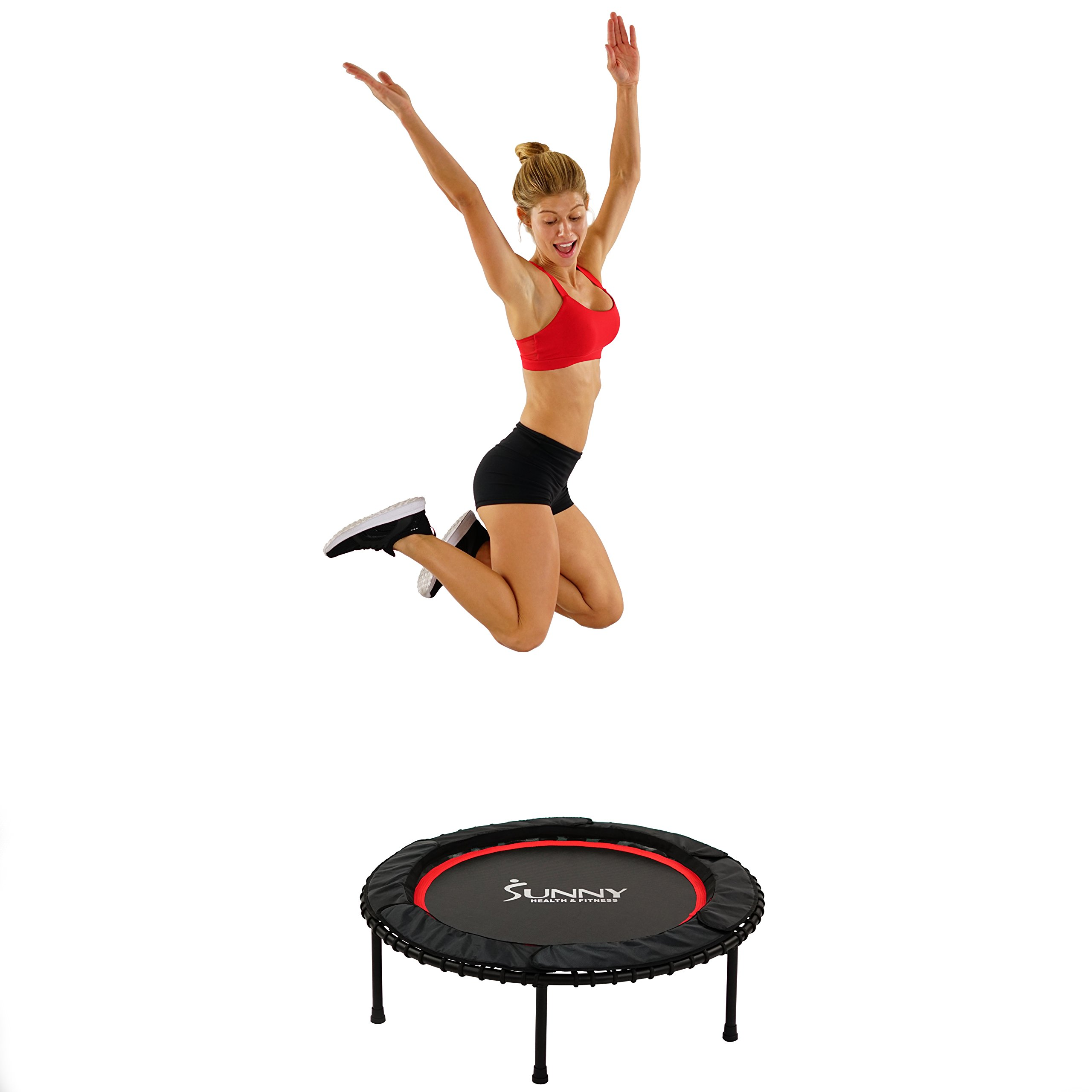 Sunny Health & Fitness 41'' Portable and Steel Framed Fitness Trampoline Rebounder with Premium High Bounce Bungee Cords