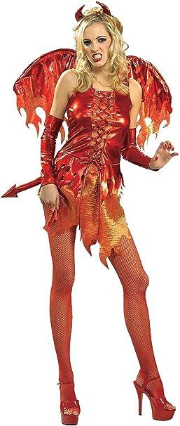 Desconocido Disfraz de Diabla Caliente Llamas Adulto: Amazon.es ...