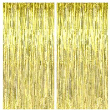 Amazon.com: 2 cortinas doradas con flecos de 36.0 x 96.0 in ...