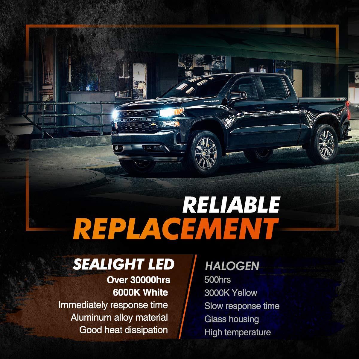 SEALIGHT H11 H9 H8 LED Headlight Bulbs Fanless 6000K White Low Beam H16 Fog lights CSP Chips Halogen Headlight Replacement 30W 5000Lumens
