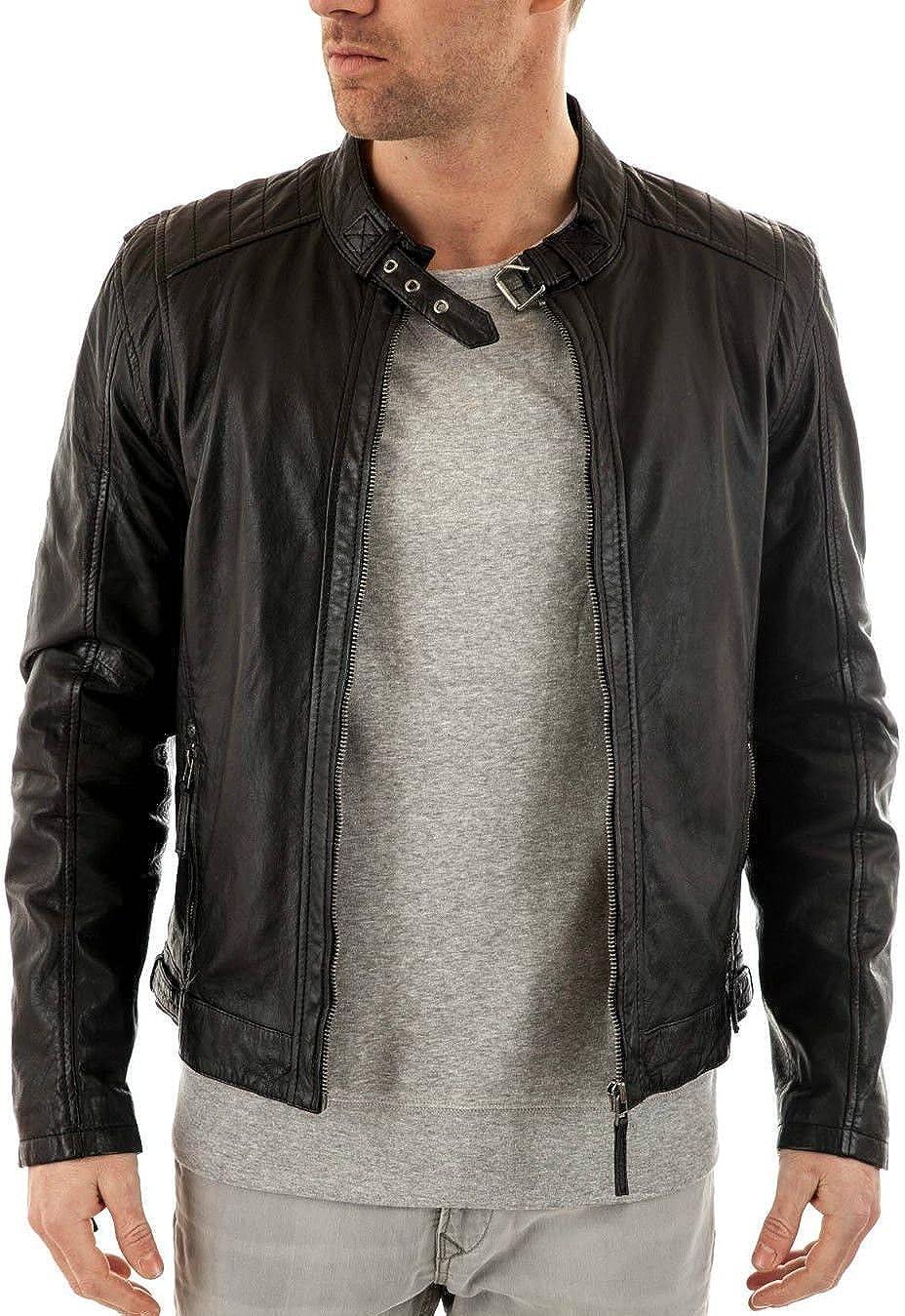 World Of Leather Mens Genuine Lambskin//Sheepskin Biker Leather Jacket Moto