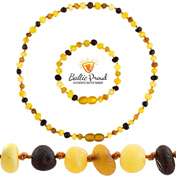 Baltic Amber Teething Necklace for Babies Unisex - Raw Cherry - 12.5 Inches ...