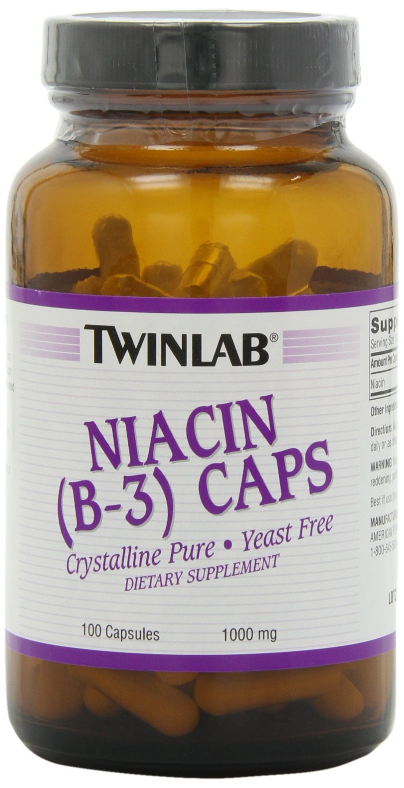 Twinlab Niacin (B-3) 1000mg, 100 Capsules (Pack of 3) by Twinlab
