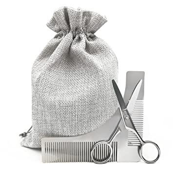 amazon com beard comb with scissors trimming styling template