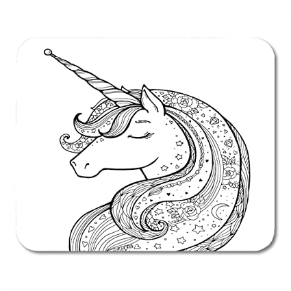 Emvency Mouse Pads Unicorn Magical Animal Black and White Coloring Book Pages for Adults Kids Funny