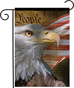 """ShineSnow USA Vintage American Flag Bald Eagle 4th of July Memorial Independence Day Garden Yard Flag 12""""x 18"""" Double Sided Polyester Welcome House Flag Banners for Patio Lawn Outdoor Home Decor"""