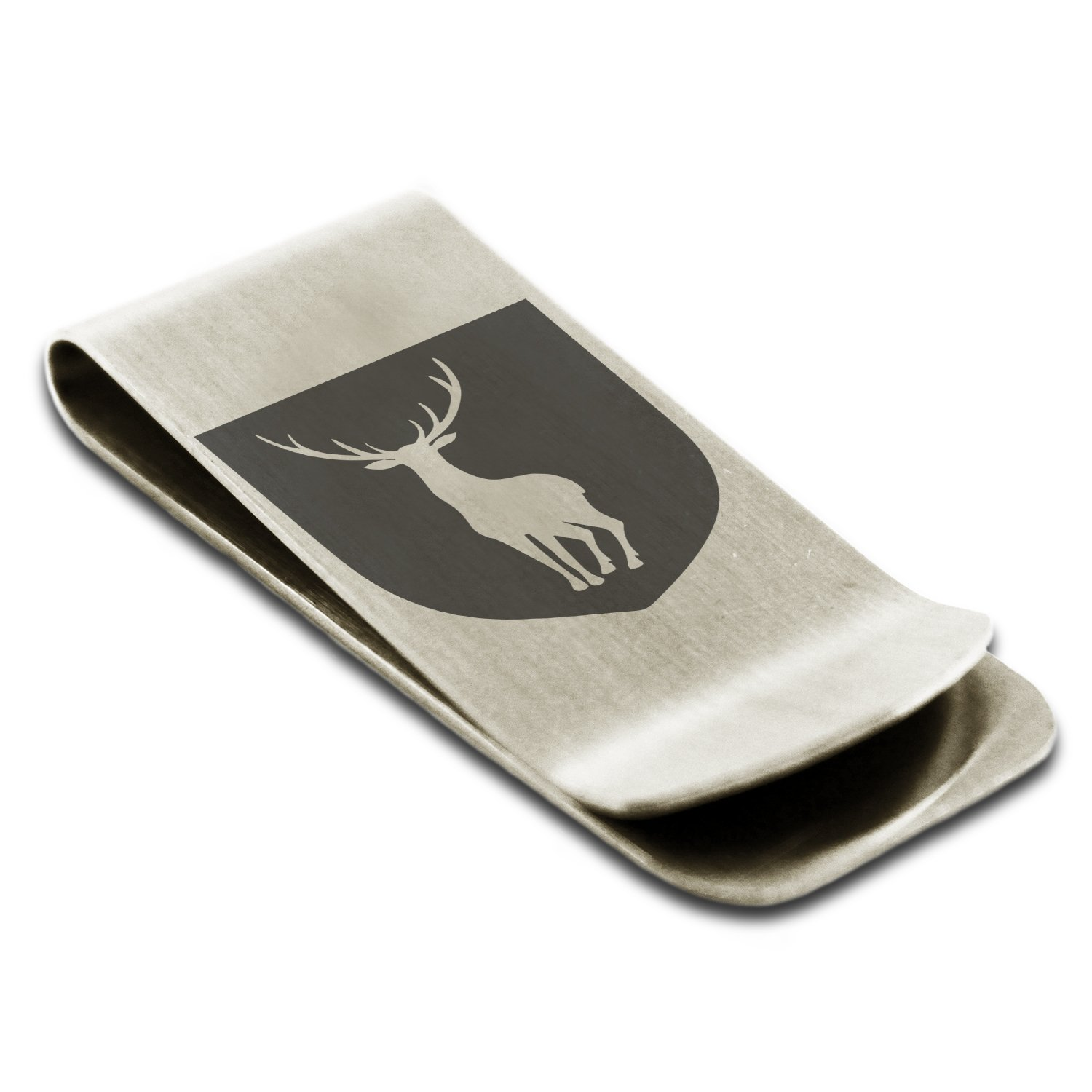 Stainless Steel Stag Purity Coat of Arms Shield Symbol Engraved Money Clip Credit Card Holder