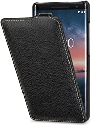 StilGut UltraSlim Housse Nokia 8 Sirocco en Cuir élégant. Étui de Protection en Cuir véritable pour Nokia 8 Sirocco à Ouverture Verticale et à Fermeture clipsée, Noir