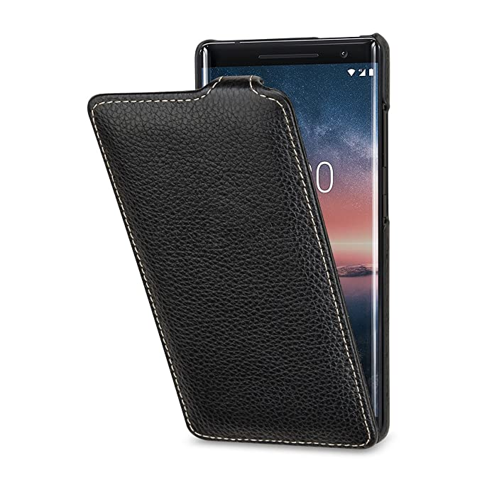 sports shoes 2ac73 aa934 StilGut Nokia 8 Sirocco Case. Slim Vertical Leather Flip Cover for Nokia 8  Sirocco, Black